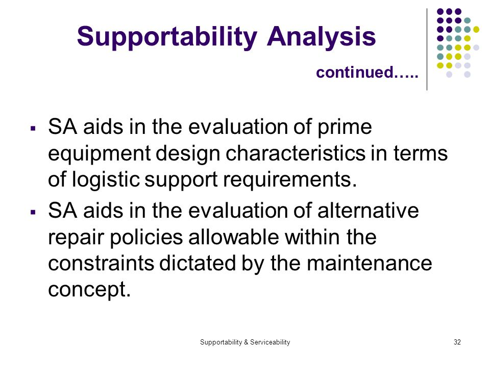 Supportability & Serviceability32 Supportability Analysis continued….. SA aids in the evaluation of prime equipment design characteristics in terms of
