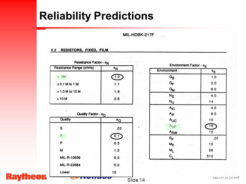 REL103;01202004 Slide 14 Reliability Predictions