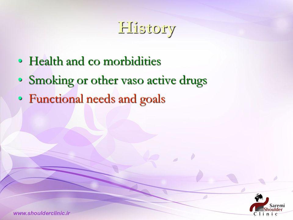 History Health and co morbiditiesHealth and co morbidities Smoking or other vaso active drugsSmoking or other vaso active drugs Functional needs and goalsFunctional needs and goals