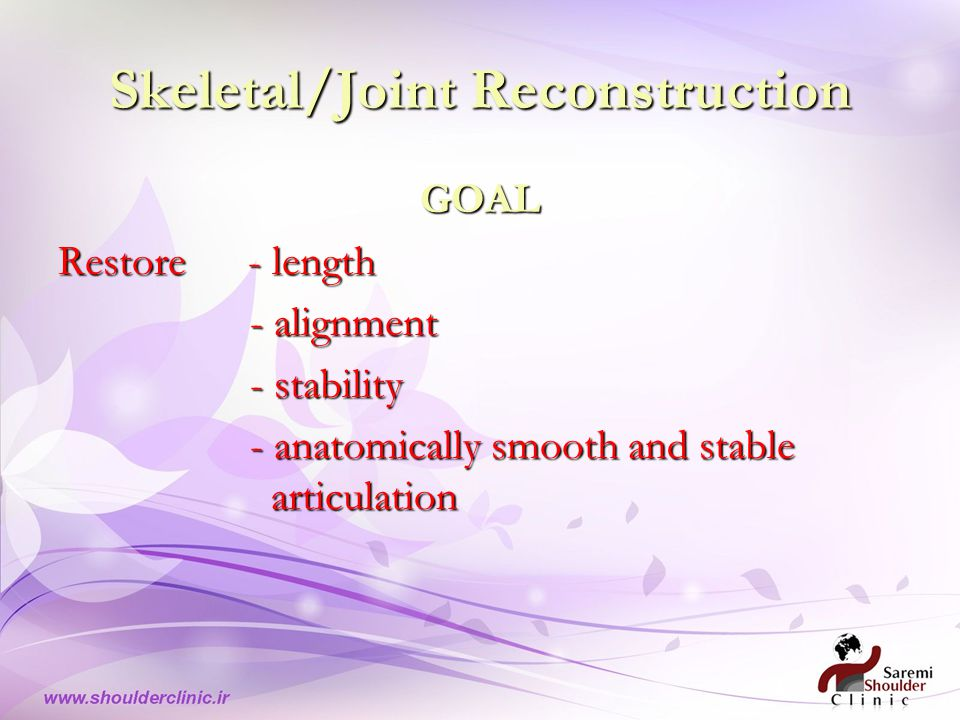 Skeletal/Joint Reconstruction GOAL Restore - length - alignment - stability - anatomically smooth and stable articulation