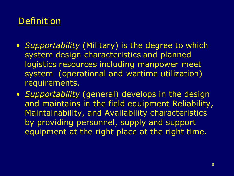 14 Supportability Elements Supportability has three elements 1.