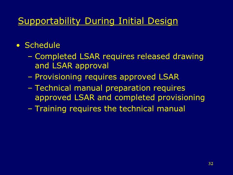32 Supportability During Initial Design Schedule –Completed LSAR requires released drawing and LSAR approval –Provisioning requires approved LSAR –Tec