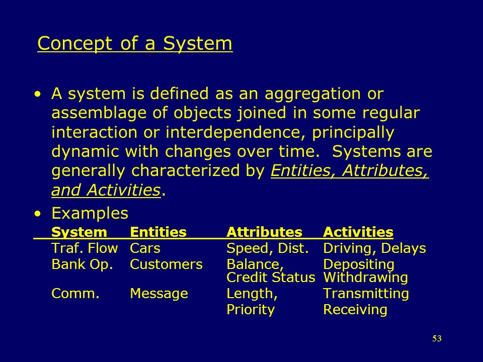 53 Concept of a System A system is defined as an aggregation or assemblage of objects joined in some regular interaction or interdependence, principal