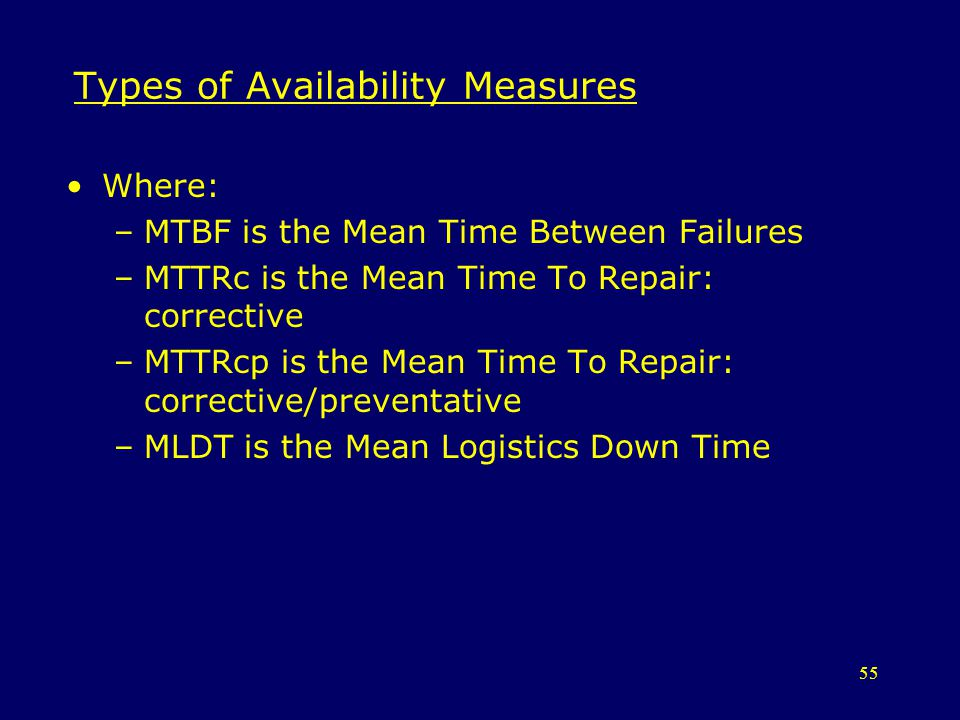 55 Types of Availability Measures Where: –MTBF is the Mean Time Between Failures –MTTRc is the Mean Time To Repair: corrective –MTTRcp is the Mean Tim