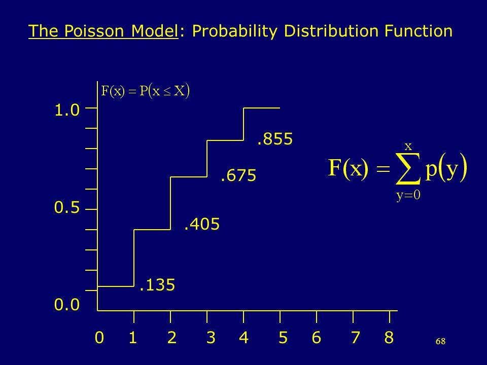 68 The Poisson Model: Probability Distribution Function 0 1 2 3 4 5 6 7 8 1.0 0.5 0.0.135.405.675.855