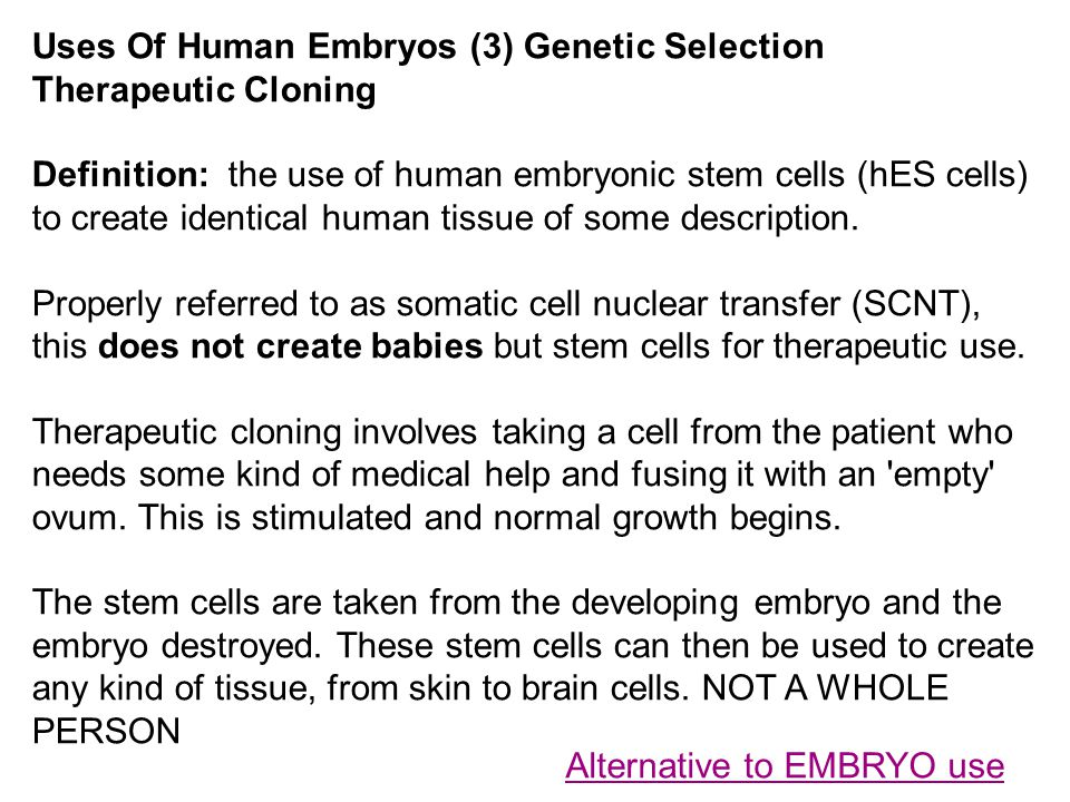 Uses Of Human Embryos (3) Genetic Selection Therapeutic Cloning Definition: the use of human embryonic stem cells (hES cells) to create identical huma
