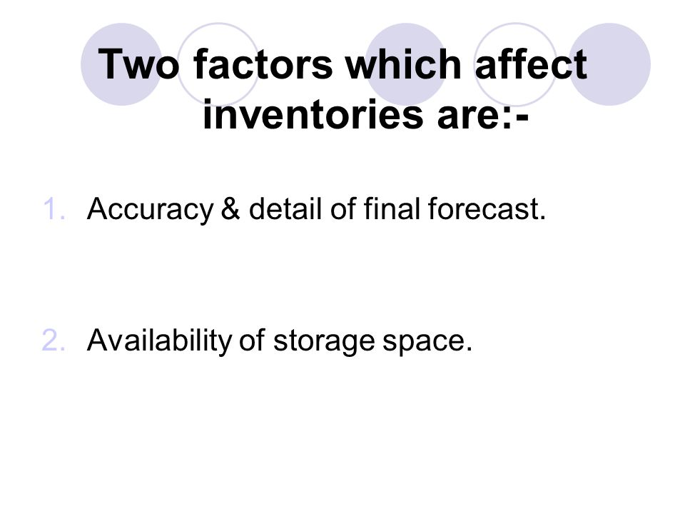 Two factors which affect inventories are:- 1.Accuracy & detail of final forecast. 2.Availability of storage space.
