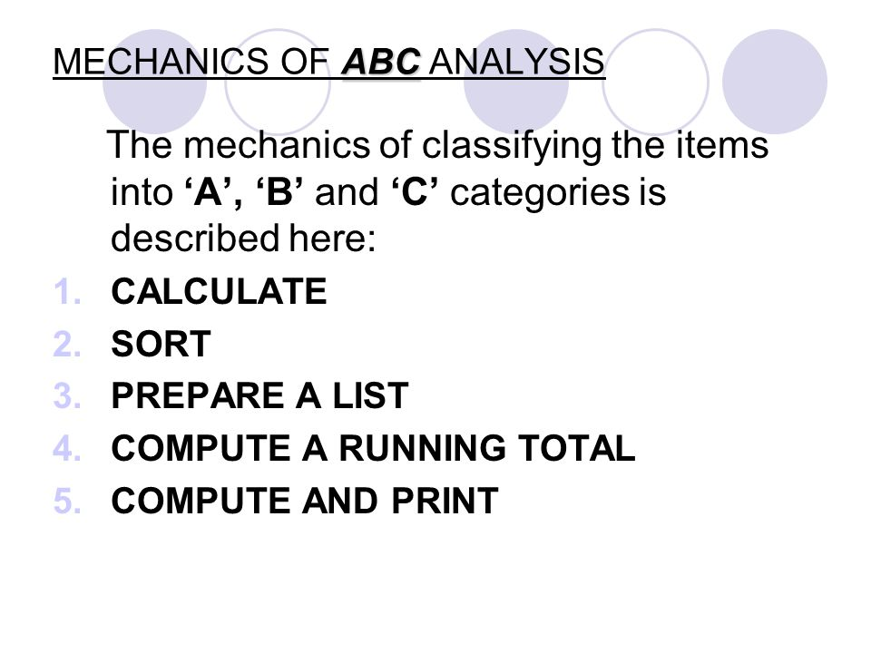 ABC MECHANICS OF ABC ANALYSIS The mechanics of classifying the items into A, B and C categories is described here: 1.CALCULATE 2.SORT 3.PREPARE A LIST