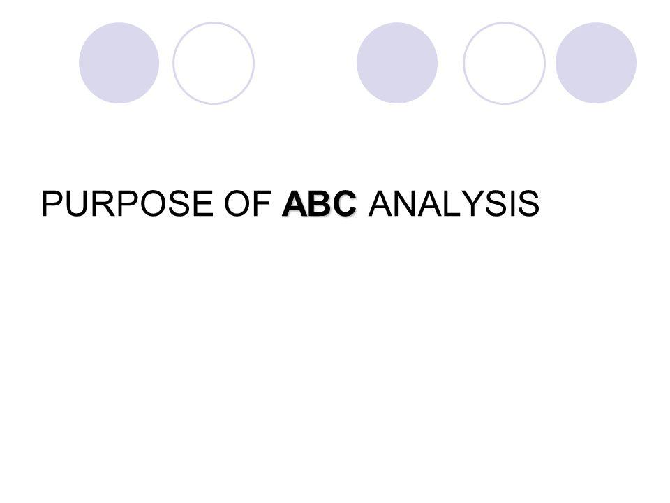 ABC PURPOSE OF ABC ANALYSIS