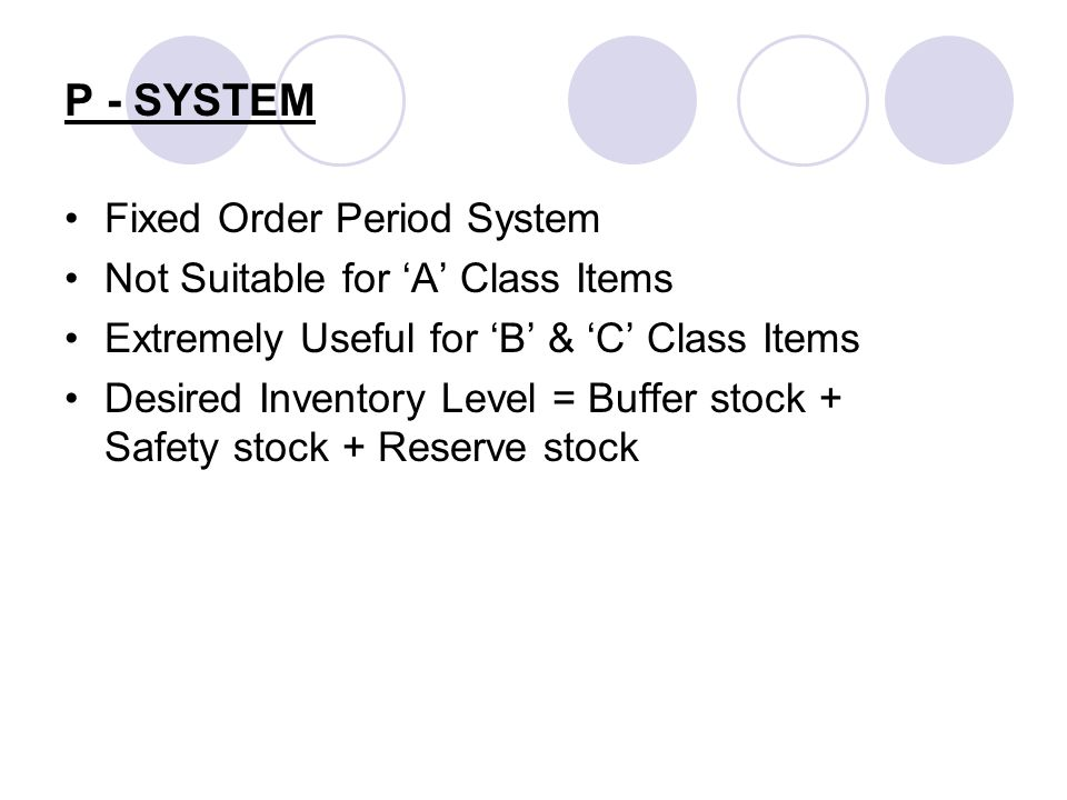 P - SYSTEM Fixed Order Period System Not Suitable for A Class Items Extremely Useful for B & C Class Items Desired Inventory Level = Buffer stock + Sa
