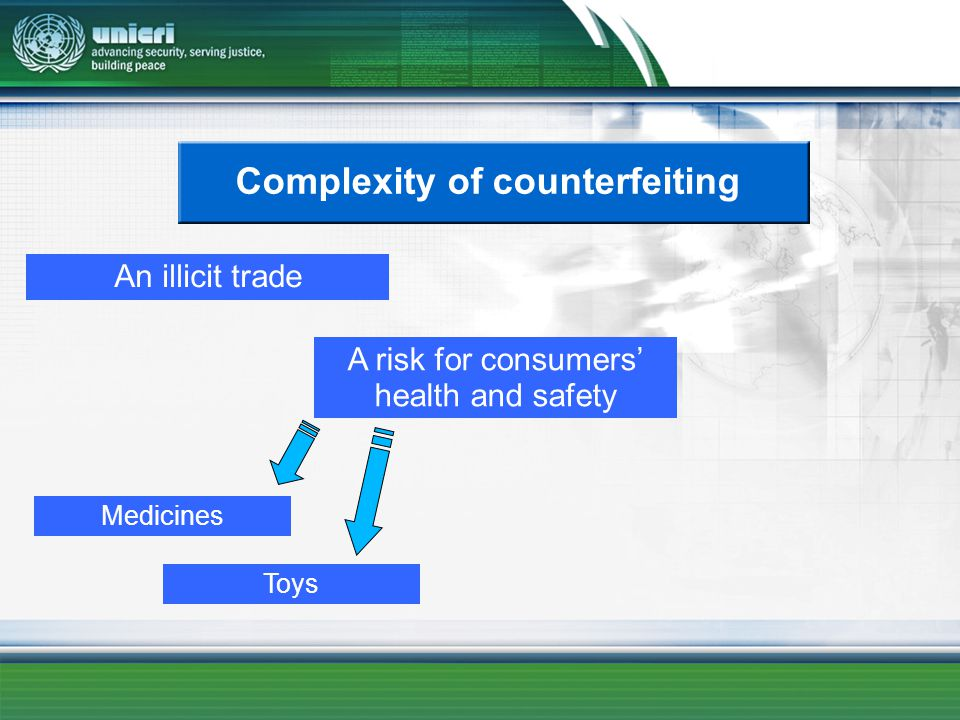 Complexity of counterfeiting An illicit trade A risk for consumers health and safety Medicines Toys
