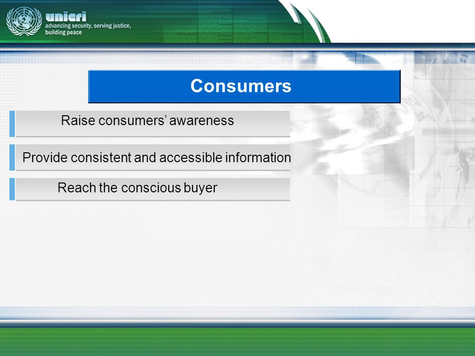 Consumers Reach the conscious buyer Provide consistent and accessible information Raise consumers awareness