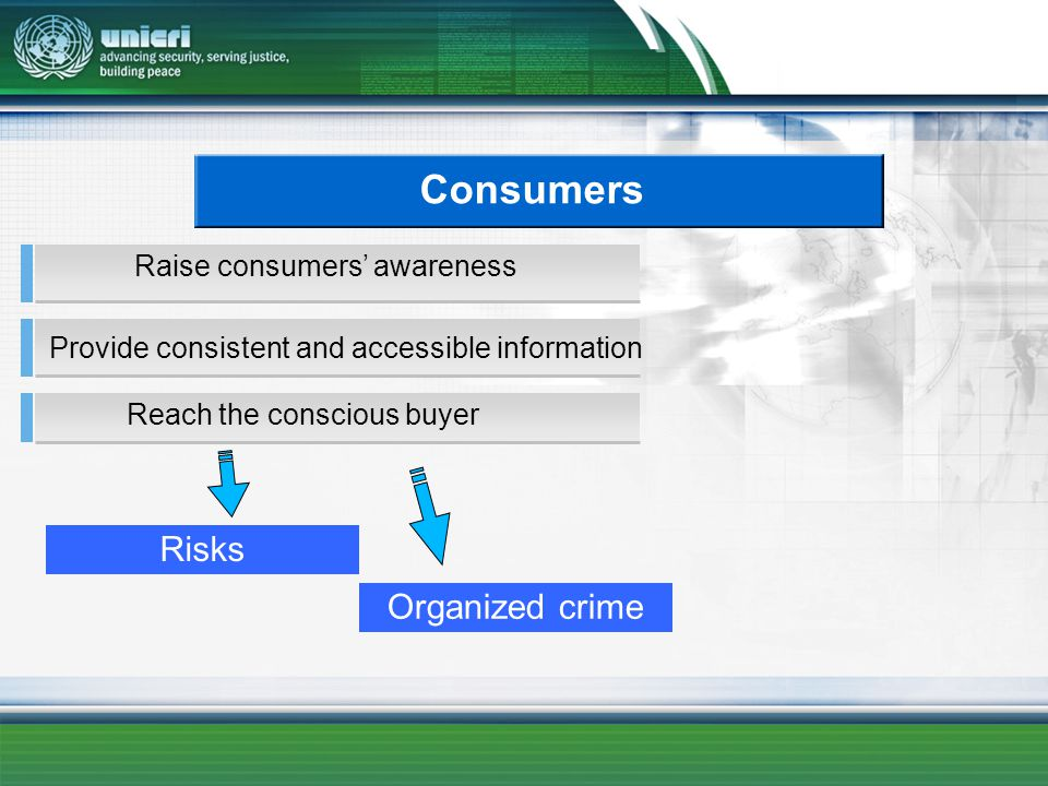 Consumers Reach the conscious buyer Provide consistent and accessible information Raise consumers awareness Risks Organized crime