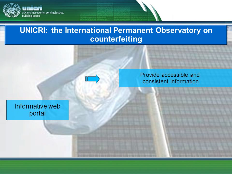 UNICRI: the International Permanent Observatory on counterfeiting Informative web portal Provide accessible and consistent information