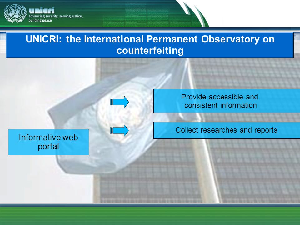 UNICRI: the International Permanent Observatory on counterfeiting Informative web portal Provide accessible and consistent information Collect researc