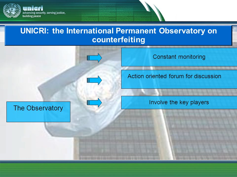 UNICRI: the International Permanent Observatory on counterfeiting The Observatory Action oriented forum for discussion Involve the key players Constant monitoring