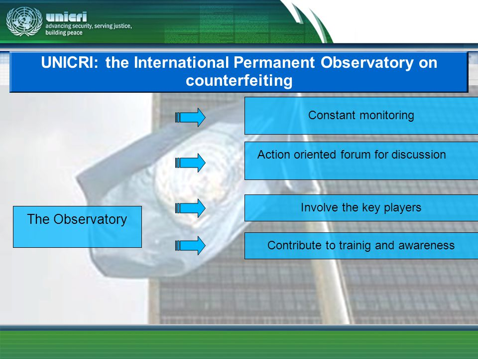 UNICRI: the International Permanent Observatory on counterfeiting The Observatory Action oriented forum for discussion Involve the key players Contribute to trainig and awareness Constant monitoring