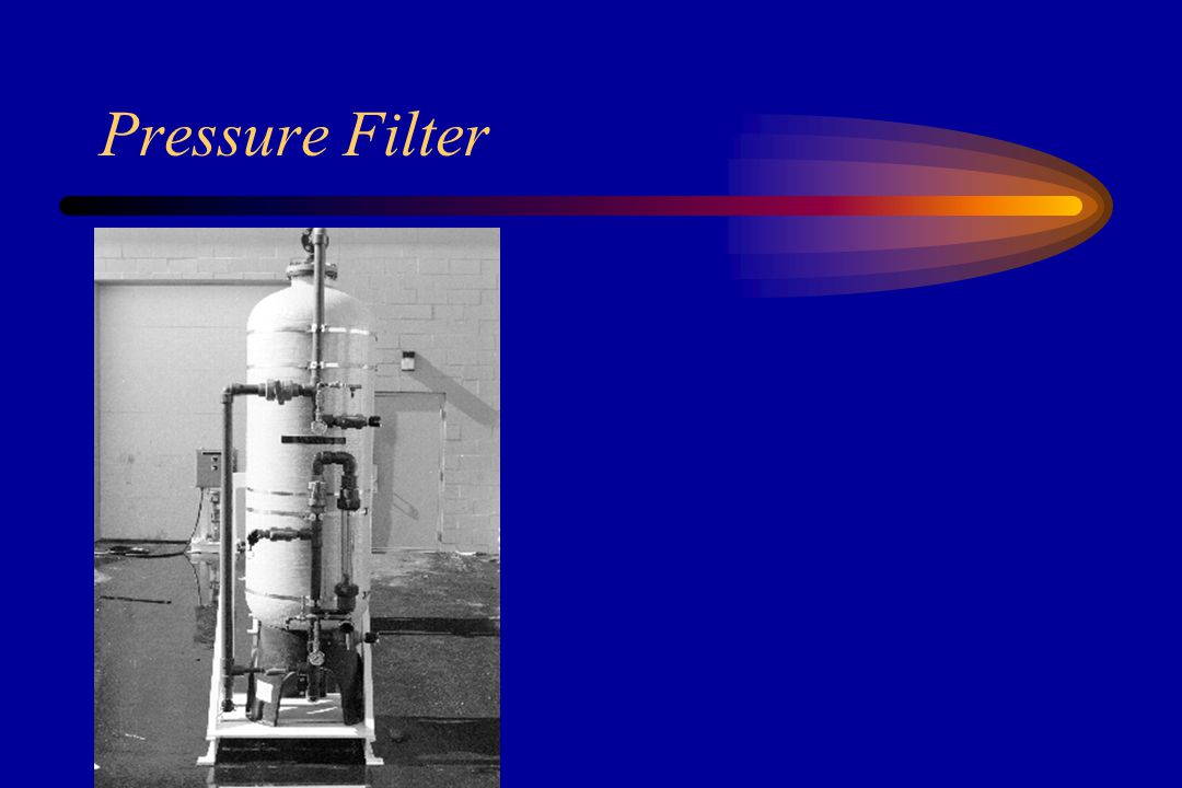 Filtration May be mesh screens, cartridges with fibrous elements, or media (sand or carbon or both) Removes particles that are too small to be removed in sedimentation basins Carbon Filters –under-counter type or whole house