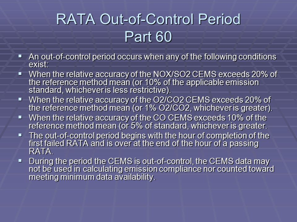 RATA Out-of-Control Period Part 60 An out-of-control period occurs when any of the following conditions exist: An out-of-control period occurs when an