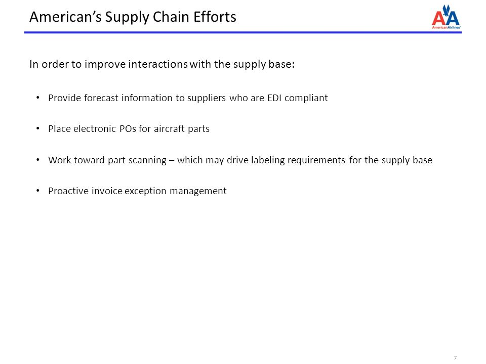 Americans Supply Chain Efforts In order to improve interactions with the supply base: Provide forecast information to suppliers who are EDI compliant