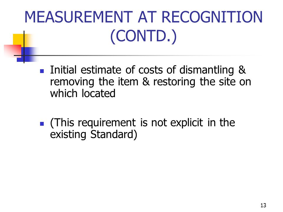 MEASUREMENT AT RECOGNITION (CONTD.) Initial estimate of costs of dismantling & removing the item & restoring the site on which located (This requireme