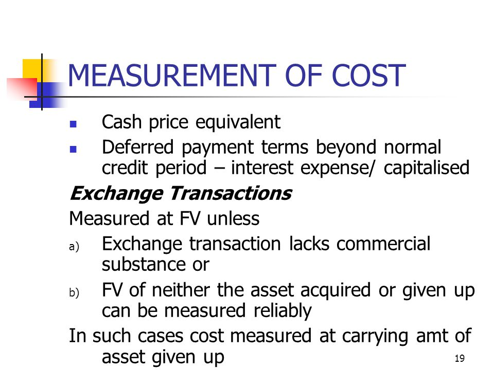 MEASUREMENT OF COST Cash price equivalent Deferred payment terms beyond normal credit period – interest expense/ capitalised Exchange Transactions Mea