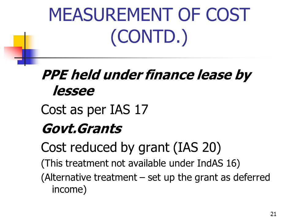 MEASUREMENT OF COST (CONTD.) PPE held under finance lease by lessee Cost as per IAS 17 Govt.Grants Cost reduced by grant (IAS 20) (This treatment not