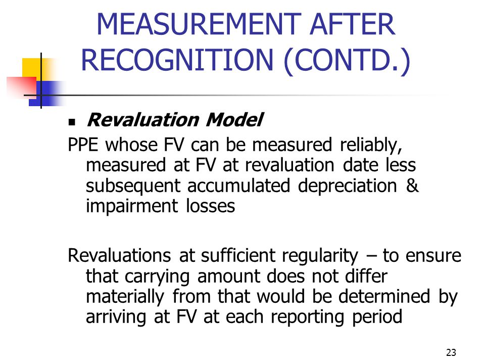 MEASUREMENT AFTER RECOGNITION (CONTD.) Revaluation Model PPE whose FV can be measured reliably, measured at FV at revaluation date less subsequent acc