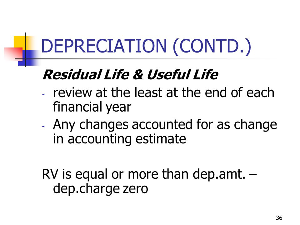 DEPRECIATION (CONTD.) Residual Life & Useful Life - review at the least at the end of each financial year - Any changes accounted for as change in acc