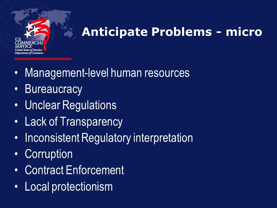Anticipate Problems - micro Management-level human resources Bureaucracy Unclear Regulations Lack of Transparency Inconsistent Regulatory interpretati