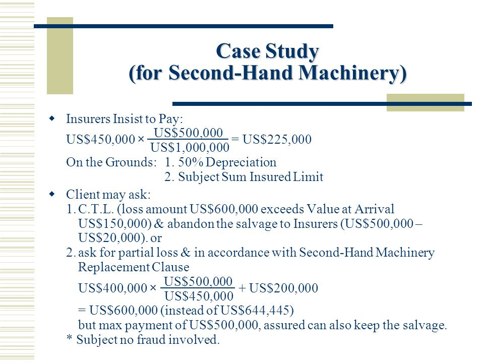 Case Study (for Second-Hand Machinery) Insurers Insist to Pay: US$450,000 × US$500,000 = US$225,000 US$1,000,000 On the Grounds:1.