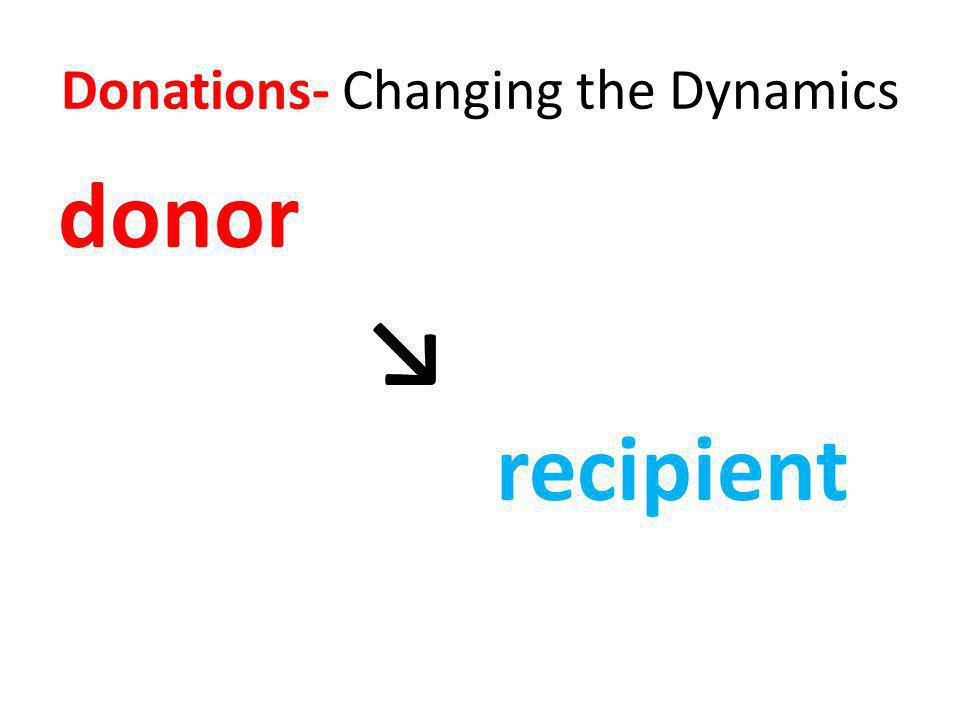Donations- Changing the Dynamics donor recipient