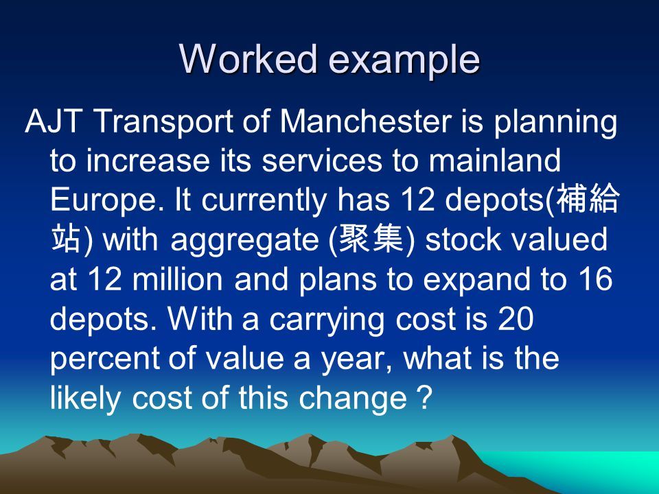 Worked example AJT Transport of Manchester is planning to increase its services to mainland Europe.