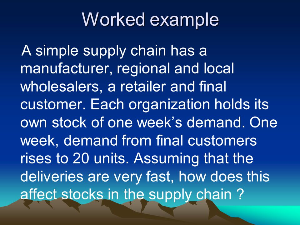 Worked example A simple supply chain has a manufacturer, regional and local wholesalers, a retailer and final customer.