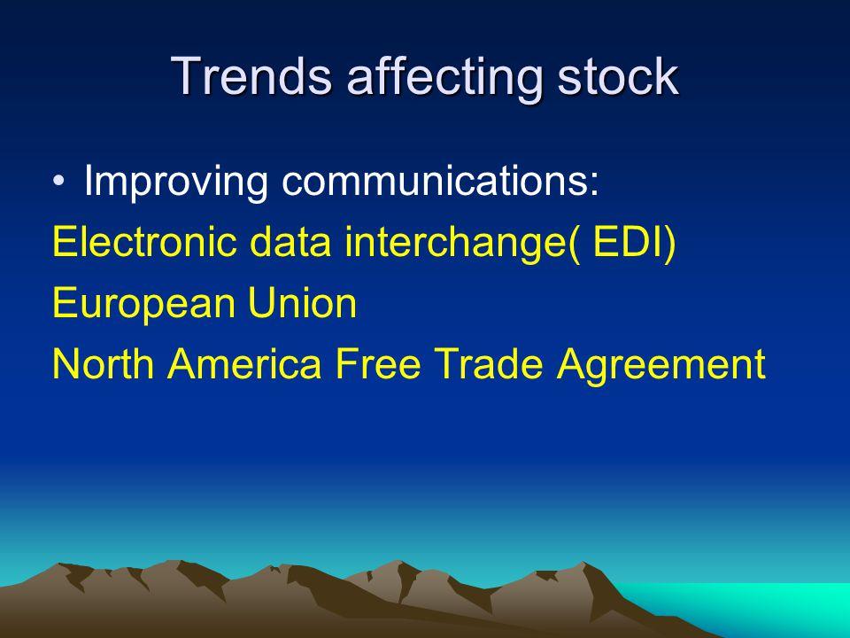 Trends affecting stock Improving communications: Electronic data interchange( EDI) European Union North America Free Trade Agreement