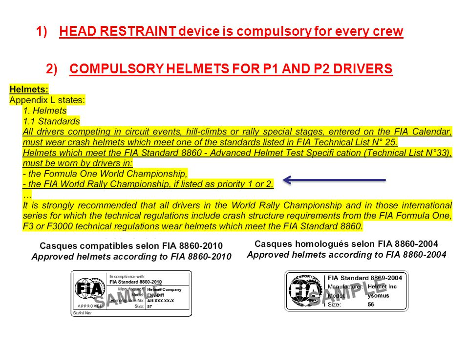 1)HEAD RESTRAINT device is compulsory for every crew 2)COMPULSORY HELMETS FOR P1 AND P2 DRIVERS