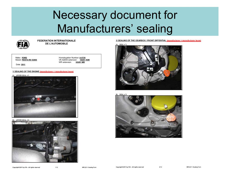 Necessary document for Manufacturers sealing