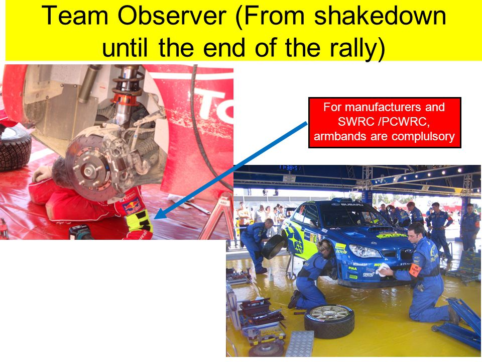 Team Observer (From shakedown until the end of the rally) For manufacturers and SWRC /PCWRC, armbands are complulsory