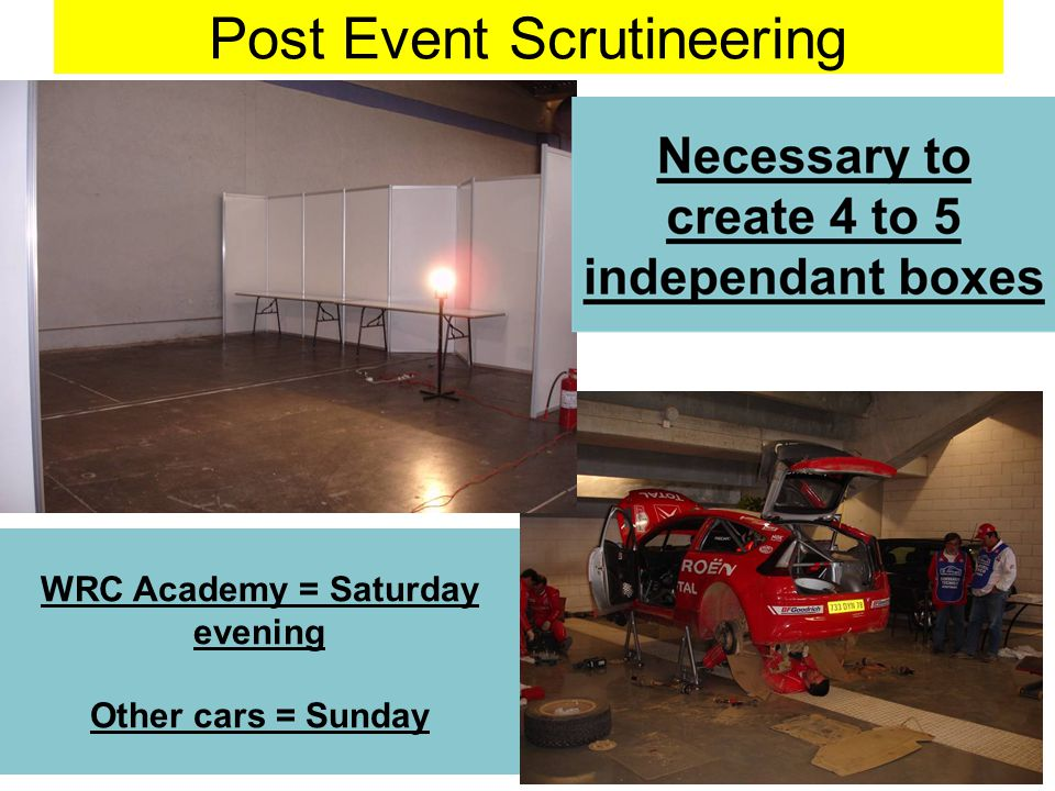 Post Event Scrutineering WRC Academy = Saturday evening Other cars = Sunday