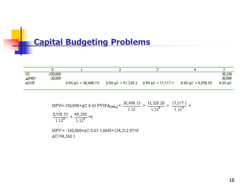 16 Capital Budgeting Problems