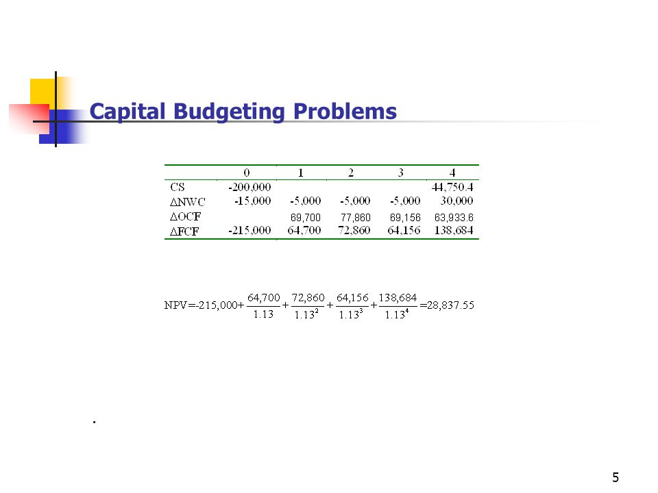 5 Capital Budgeting Problems.