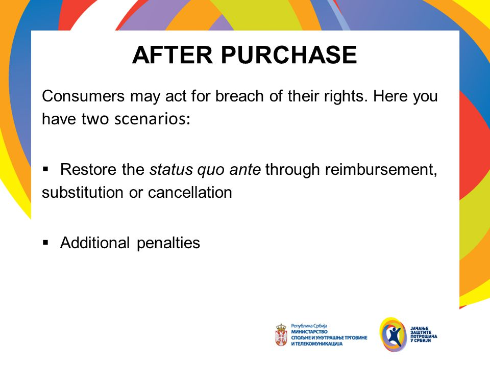AFTER PURCHASE Consumers may act for breach of their rights.