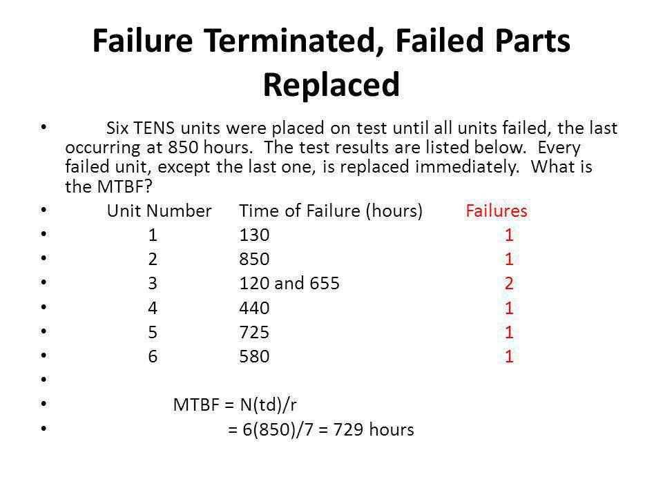 Failure Terminated, Failed Parts Replaced Six TENS units were placed on test until all units failed, the last occurring at 850 hours.