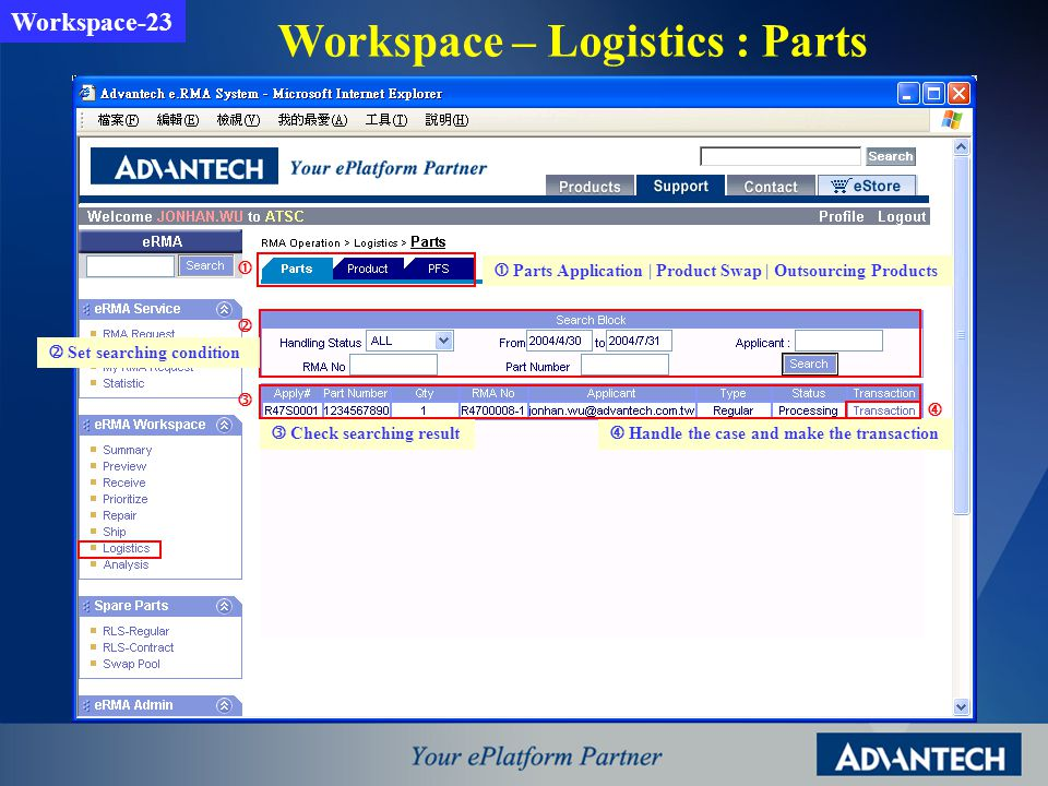 Workspace – Logistics : Parts Workspace-23 Parts Application | Product Swap | Outsourcing Products Set searching condition Handle the case and make th