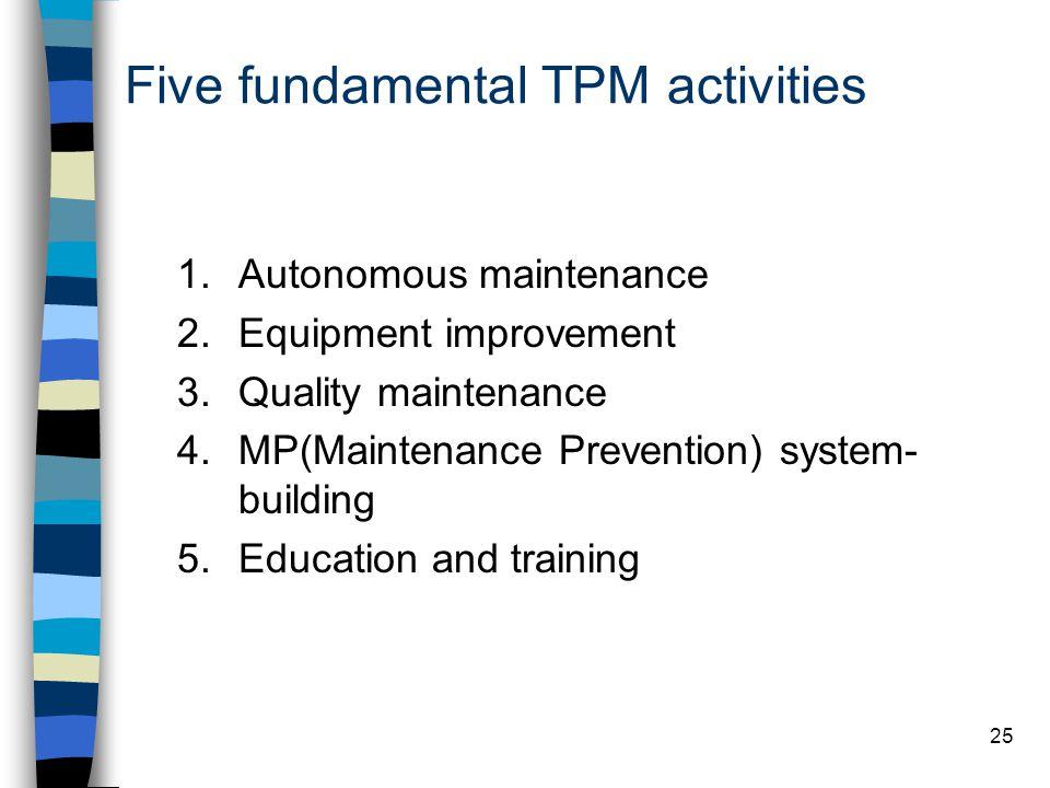 25 Five fundamental TPM activities 1.Autonomous maintenance 2.Equipment improvement 3.Quality maintenance 4.MP(Maintenance Prevention) system- buildin