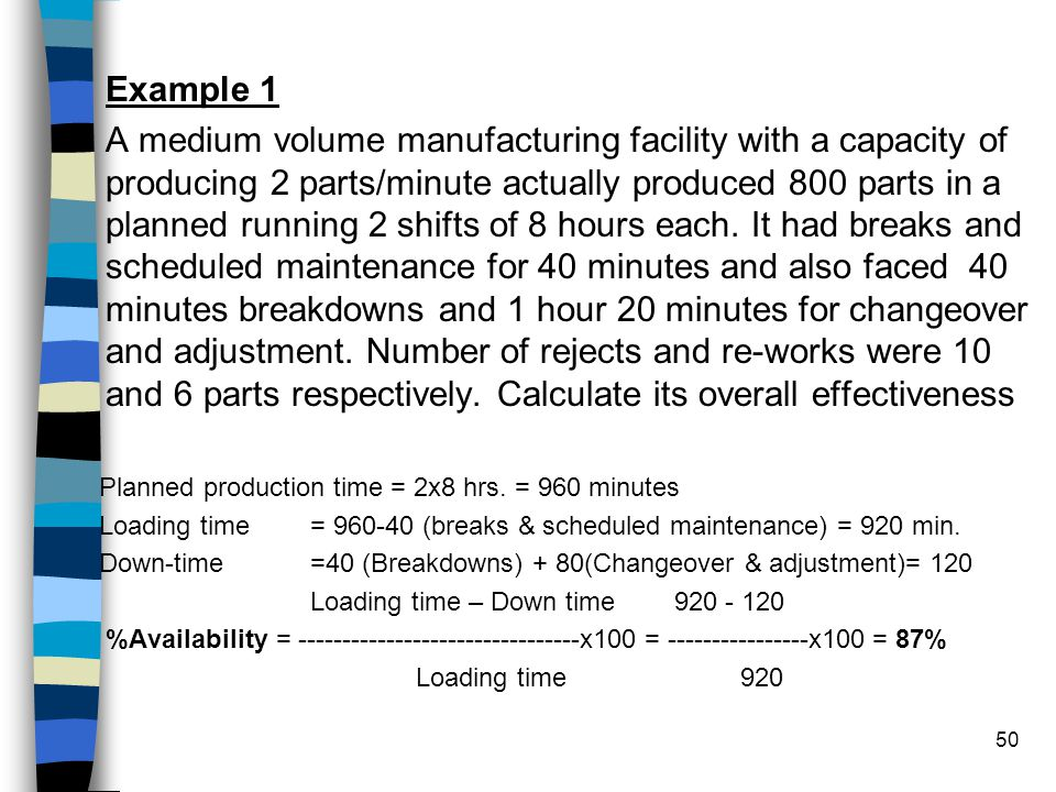 50 Example 1 A medium volume manufacturing facility with a capacity of producing 2 parts/minute actually produced 800 parts in a planned running 2 shi
