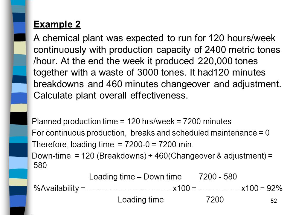 52 Example 2 A chemical plant was expected to run for 120 hours/week continuously with production capacity of 2400 metric tones /hour. At the end the