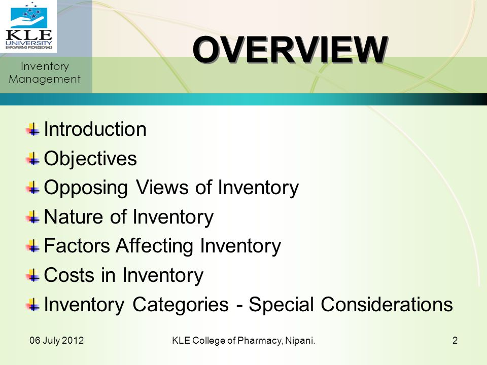ABC Classification System Classifying inventory according to annual value of consumption of the items.