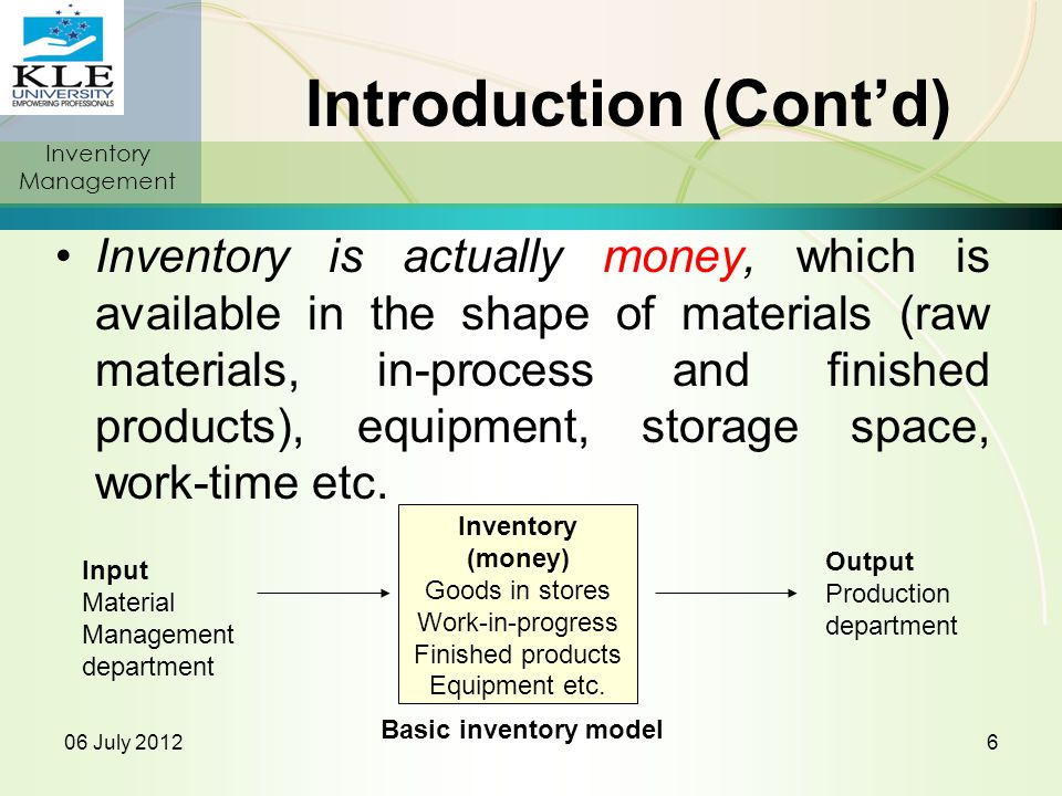 Model II: EOQ for Production Lots It is also assumed that the supply rate, p, is greater than the demand rate, d The change in maximum inventory level requires modification of the TSC equation TSC = (Q/2)[(p-d)/p]C + (D/Q)S The optimization results in Inventory Management 06 July 2012KLE College of Pharmacy, Nipani.87