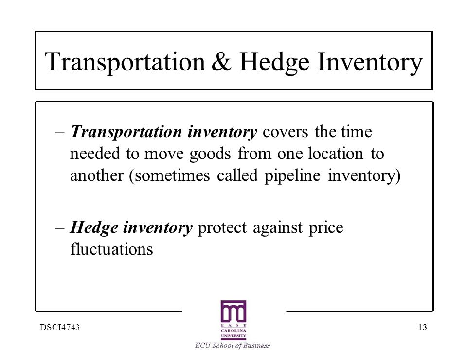 13 DSCI4743 Transportation & Hedge Inventory –Transportation inventory covers the time needed to move goods from one location to another (sometimes ca